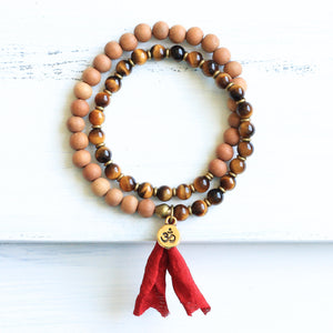Tiger's Eye Sandalwood Mala Bracelet with Tassel, boho jewelry