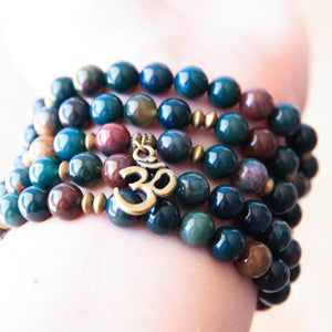 Indian Bloodstone 108 Mala Bracelet, yoga jewelry