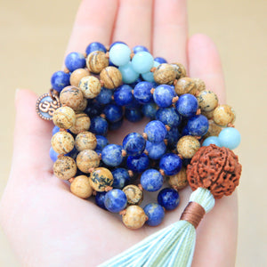 Sodalite Picture Jasper Mala Necklace, yoga jewelry