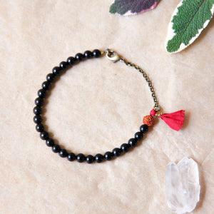 Black Tourmaline Yoga Bracelet with Tassel