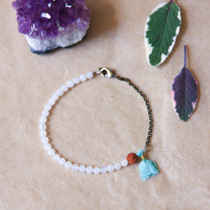 Moonstone Yoga Bracelet with Tassel, handmade jewelry