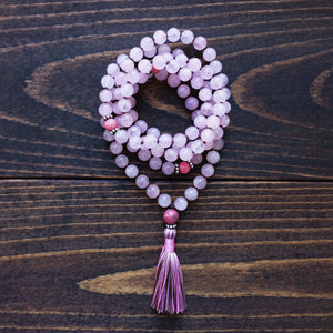 Rose Quartz Rhodonite Mala Necklace