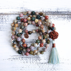 Ocean Jasper Mala Necklace, yoga jewelry
