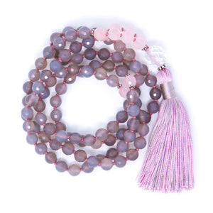 Faceted Gray Agate Rose Quartz Mala Necklace, crystal healing jewelry