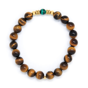 Tiger's Eye Mala Bracelet with Malachite, yoga jewelry