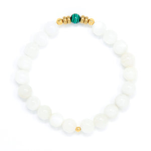 Moonstone Mala Bracelet with Malachite, handmade jewelry