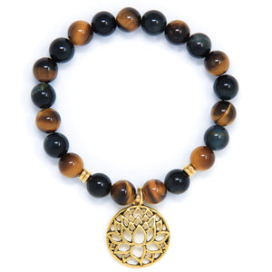 Blue Yellow Tiger's Eye Mala Bracelet, crystal healing jewelry