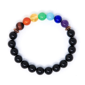 7 Chakra Bracelet with Black Tourmaline, crystal healing jewelry