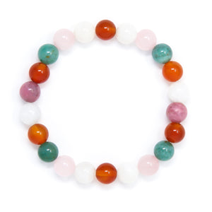 Fertility Bracelet with Rose Quartz Carnelian Moonstone