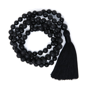 all black malas with tassel, lava and onyx jewelry