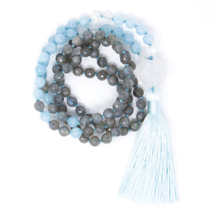 Labradorite Aquamarine Mala Necklace, yoga jewelry