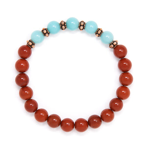 Red Jasper Amazonite Mala Bracelet, crystal healing jewelry