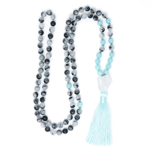 Tourmalated Quartz Amazonite Mala Necklace, crystal healing jewelry
