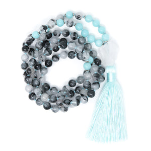 Tourmalinated Quartz Amazonite Mala Necklace, yoga jewelry