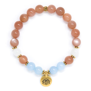 Sunstone Aquamarine Moonstone Mala Bracelet with Lotus, crystal healing jewelry