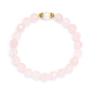 Faceted Rose Quartz Mala Bracelet Pearl, crystal healing jewelry
