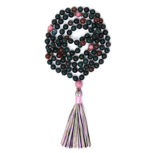 Indian Bloodstone Rhodonite Mala Necklace, yoga jewelry