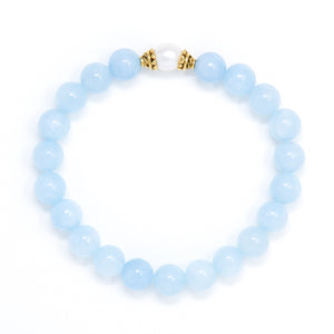 Aquamarine Mala Bracelet with Pearl, crystal healing jewelry