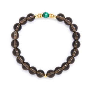 Smoky Quartz Mala Bracelet with Malachite, handmade jewelry