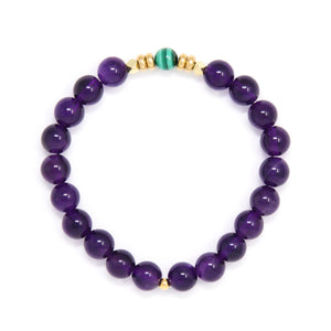 Amethyst Mala Bracelet with Malachite, yoga jewelry