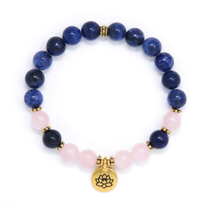 Sodalite & Rose Quartz Mala Bracelet, yoga jewelry