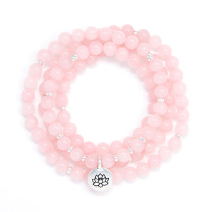 Rose Quartz 108 Mala Bracelet, yoga jewelry