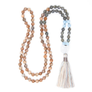 Sunstone & Labradorite Mala Necklace, yoga jewelry