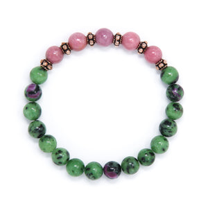 Ruby in Zoisite Rhodonite Mala Bracelet, handmade jewelry