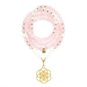 I Am Love & Peace: Rose Quartz & Moonstone Mala Necklace