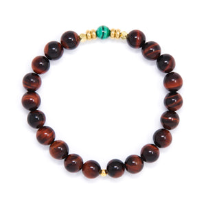 Red Tiger's Eye Mala Bracelet with Malachite, handmade jewelry