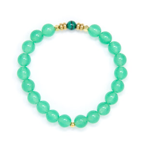 Green Aventurine Mala Bracelet with Malachite, yoga jewelry