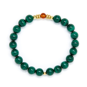 Malachite Mala Bracelet with Baltic Amber, yoga jewelry