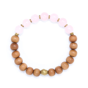 Rose Quartz Sandalwood Mala Bracelet, yoga jewelry