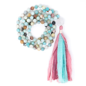 Multicolor Amazonite Mala Prayer Beads, crystal healing jewelry