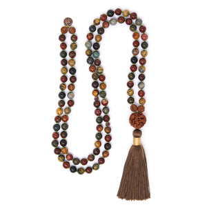 Red Creek Jasper Mala Necklace, crystal healing jewelry