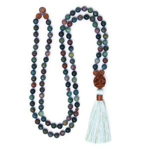 Indian Agate Mala Necklace with Rudraksha and Om charm, yoga jewelry