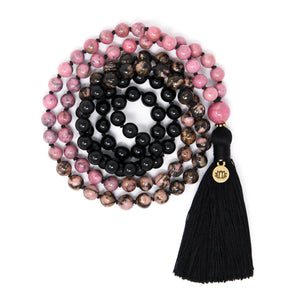 Ombré Pink Rhodonite and Black Tourmaline Mala Necklace, crystal healing jewelry