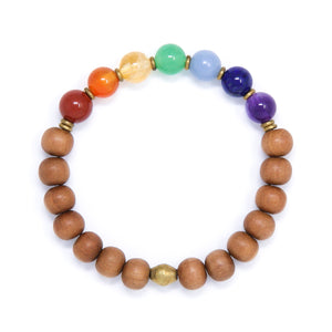 Seven Chakra and Sandalwood Mala Bracelet, yoga jewelry