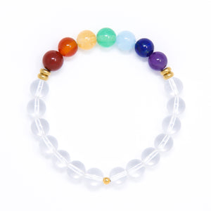 7 chakra bracelet with Quartz Crystal, yoga jewelry