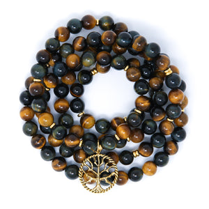 Blue Yellow Tiger's Eye 108 Mala Bracelet with Tree of Life, spiritual jewelry