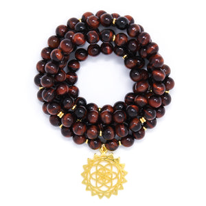 Red Tiger's Eye 108 Mala Bracelet with Seed of Life, yoga jewelry