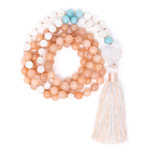 Peach Quartz Moonstone Mala Necklace, yoga jewelry