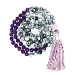 Tree Agate Amethyst Mala Necklace, yoga jewelry