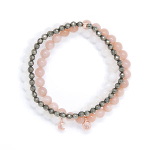 Sunstone, Moonstone, Pyrite Healing Bracelet Set, modern yoga jewelry