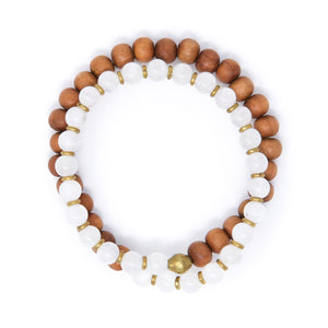 Moonstone Sandalwood Mala Bracelet, yoga jewelry made in USA