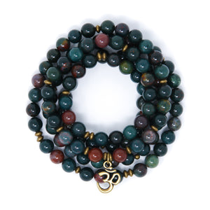 Indian Bloodstone 108 Mala Bracelet, yoga jewelry made in USA