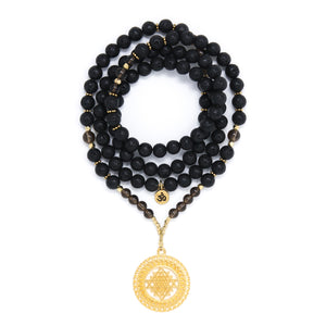 Black Lava and Smoky Quartz Mala Necklace with Gold Sri Yantra Pendant, black, brown and gold mala beads, yoga jewelry