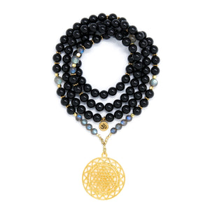 Black Tourmaline and Labradorite Mala Necklace with Gold Sri Yantra Pendant, black, gray and gold mala beads, yoga jewelry