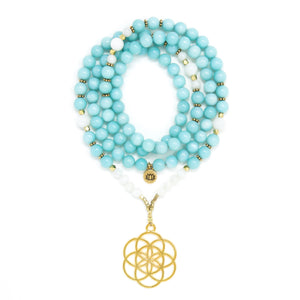 Amazonite and Moonstone Mala Necklace with Seed of Life Pendant, aqua blue, white and gold mala beads, yoga jewelry
