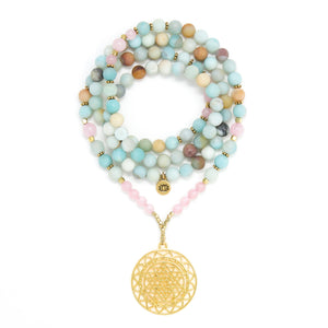 Matte Amazonite and Rose Quartz Mala Necklace with Gold Sri Yantra Pendant, aqua blue and pink mala beads, yoga jewelry